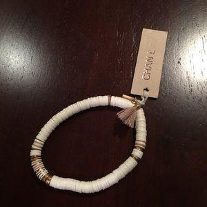 Chan Luu Beaded white disc bracelet